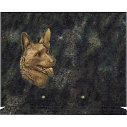 FUNERAL PLATE ON BASE BRONZE ANIMAL AND GRANITE - GRANITE COLORS 12 + LARGE SELECTION OF ANIMALS BRONZE
