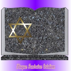 BOOK FUNERAL PLATE ON BASE + BRONZE RELIGION JEWISH - 12 GRANITE COLOURS