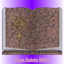 BOOK FUNERAL PLATE ON BASE + BRONZE PROTESTANT RELIGION - 12 GRANITE COLOURS