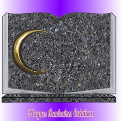 BOOK FUNERAL PLATE ON BASE + BRONZE MUSLIM RELIGION - 12 GRANITE COLOURS