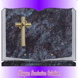 BOOK FUNERAL PLATE ON BASE + BRONZE CATHOLIC RELIGION - 12 GRANITE COLOURS