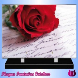 FUNERAL PLATE RED ROSE