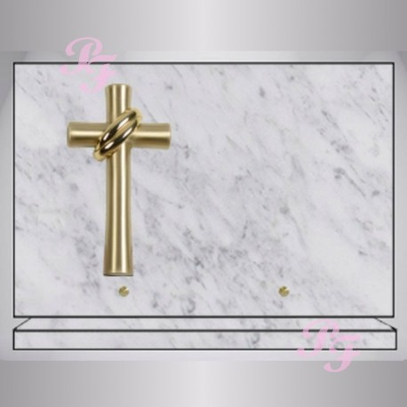 plaque funeraire marbre blanc rectangle bronze croix. Black Bedroom Furniture Sets. Home Design Ideas