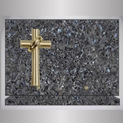 PLAQUE LABRADOR BLEU RECTANGLE-BRONZE CROIX