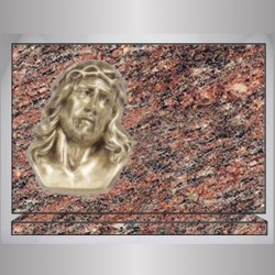 PLAQUE GRANIT RECTANGLE - ROSE D'ALVA BRONZE CHRIST