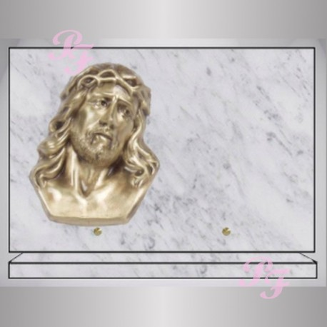 plaque funeraire granit rectangle marbre blanc bronze christ. Black Bedroom Furniture Sets. Home Design Ideas