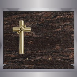 HIMALAYAN BLUE PLAQUE RECTANGLE CROSS-BRONZE